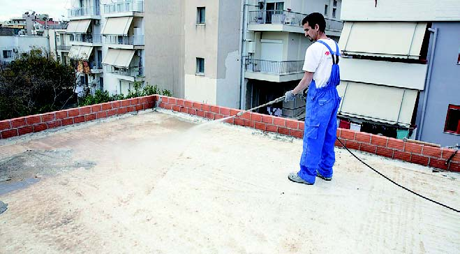 Terrace waterproofing with polyurethane membrane thrakon for Terrace waterproofing